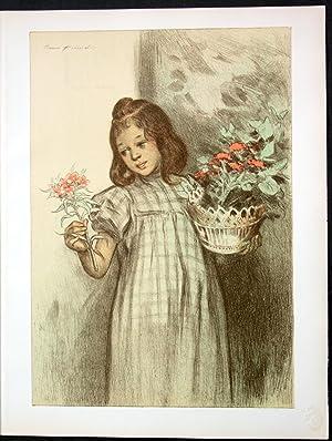 """Etienne Firmin Bouisset """"Bouquetiere"""" - girl Mädchen: Bouisset, Etienne Firmin"""