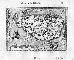 """Malta olim Melita Insula"""" - Malta island: Ortelius, Abraham, Philipp"""