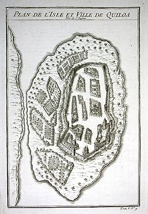 """Plan de l'Isle et Ville de Quiloa"""""""