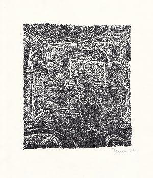Original-Lithographie von Gottfried Teuber zu einem Text: Teuber, Gottfried:
