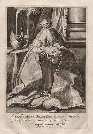 """Nune dinuitis Seruum."""" / Simeon hält Jesus: Crispijn de Passe"""