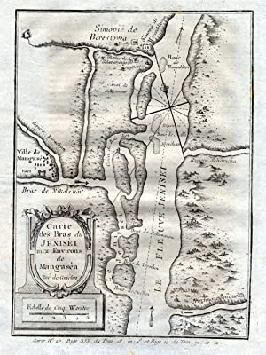Carte des Bras du Jenisei aux environs: Bellin, Jacques-Nicolas: