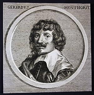 "Gerardus Honthorst"" - Gerrit van Honthorst Niederlande: Original Kupferstich:"