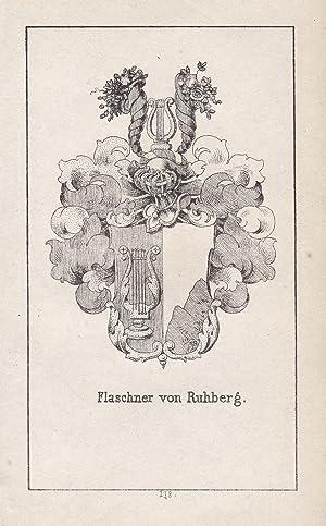 """Flaschner von Ruhberg"""" - Flaschner Ruhberg Wappen: Original-Lithographie:"""
