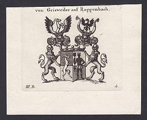 """von Geisweiler auf Roggenbach"""" - Geisweiler Roggenbach: Original-Kupferstich:"""