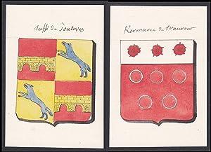 """Ruffi de Tontevez / Kermarec de traurout"""": Original-Aquarell:"""