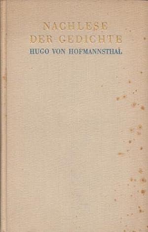 Nachlese der Gedichte.: Hofmannsthal, Hugo von: