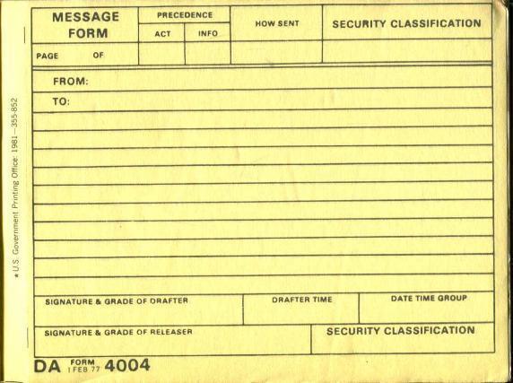 Army Form | Us Army Message Book Da Form 4004 By Us Army Government Printing