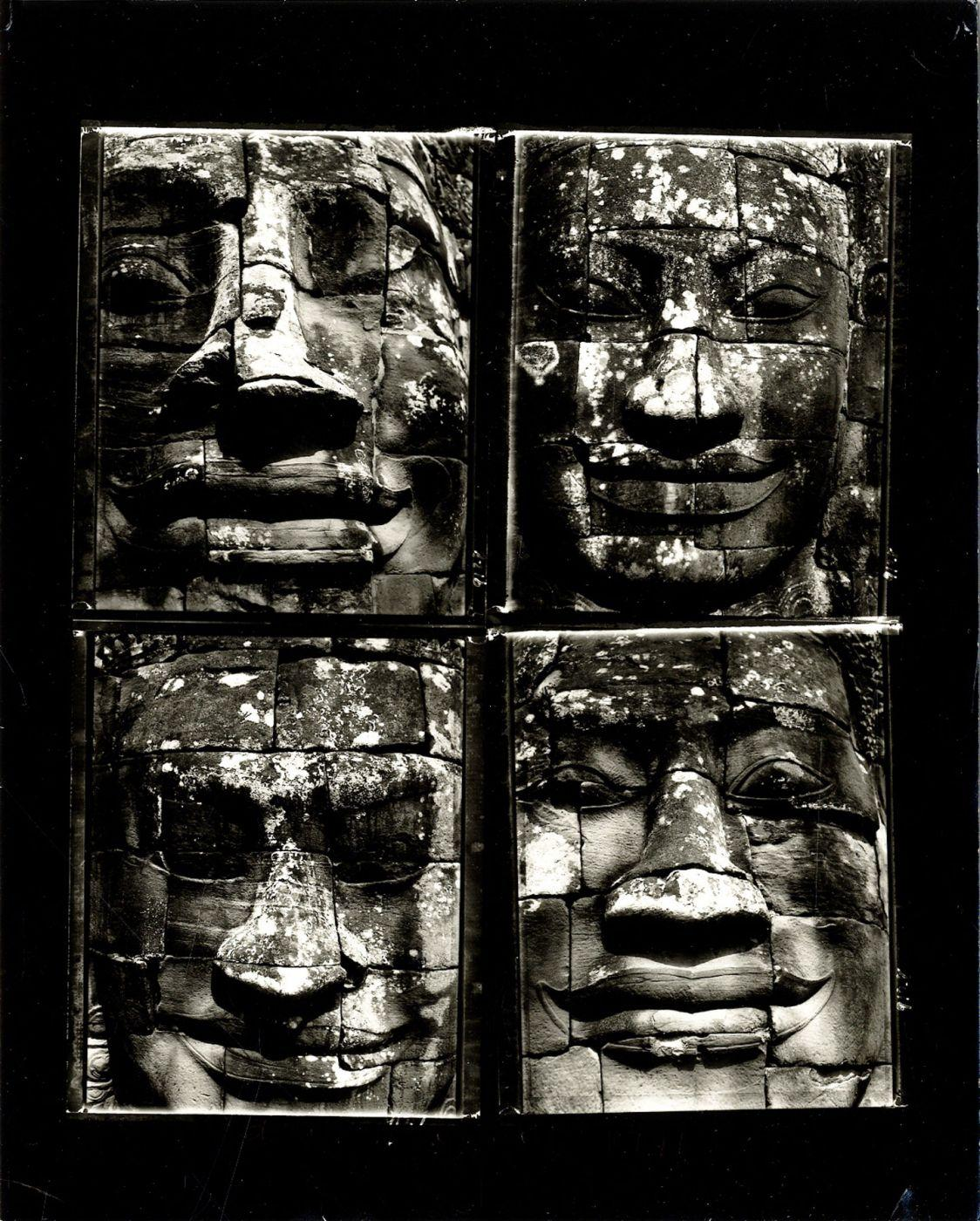 Bill Burke:  Four Faces at the Bayon, 1991  Vintage Toned Gelatin Silver Contact Print of Four Polaroid Negatives (10x8  Printed on AZO Paper) BURKE, An original, vintage toned contact print of four Polaroid negatives. Printed in 1991 by Burke on AZO paper. Signed, titled, and dated in the lower bla