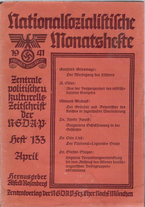 Nationalsozialistische Monatshefte Heft 133, April 1941, 12.: Zentralverlag der NSDAP,