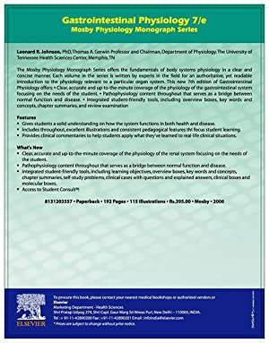 Gastrointestinal Physiology: Mosby Physiology Monograph Series (EDN: Leonard R. Johnson