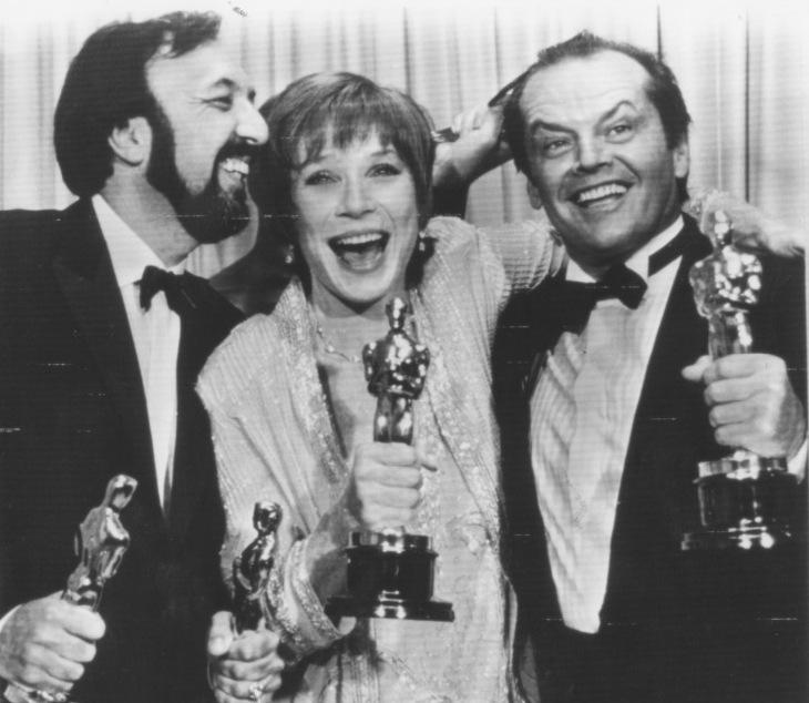 James Brooks, Shirley MacLaine and Jack Nicholson James Brooks receives two Oscar fot the best Screenplay for  Terms of Endearment  and Best Director for the same movie, best Actress is Shirley Maclai