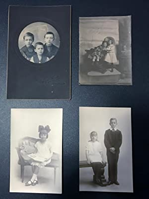 Collection of 4 vintage photo portraits and postcards of children