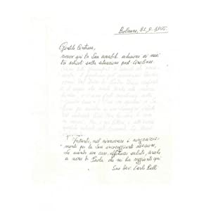 Letter from Carlo Belli to Countess Pecci Blunt