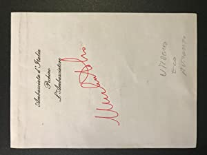 Signature from Umberto Eco