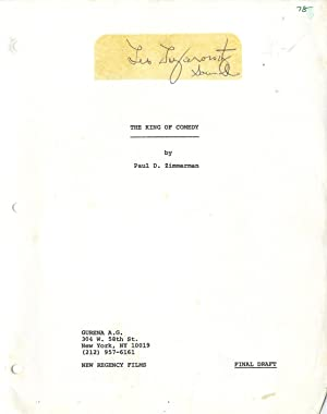 VINTAGE FILM SCRIPT) KING OF COMEDY, THE (1982): Zimmerman, Paul D. (screenplay); Scorsese, Martin ...
