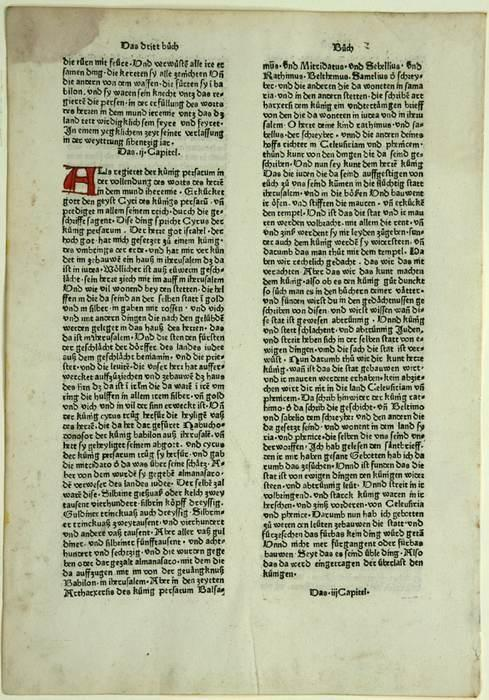 Einzelnes Blatt aus: Biblia germanica (Siebte deutsche