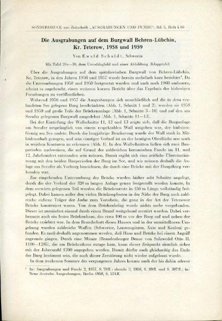 Die Ausgrabungen auf dem Burgwall von Behren-Lübchin,: Schuldt, Ewald: