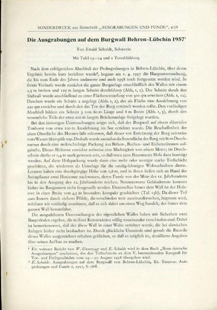 Die Ausgrabungen auf dem Burgwall von Behren-Lübchin: Schuldt, Ewald: