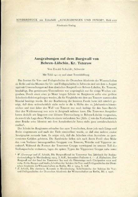 Ausgrabungen auf dem Burgwall von Behren-Lübchin, Kr.: Schuldt, Ewald: