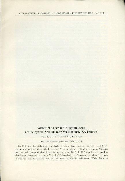 Vorbericht über die Ausgrabungen am Burgwall Neu: Schuldt, Ewald:
