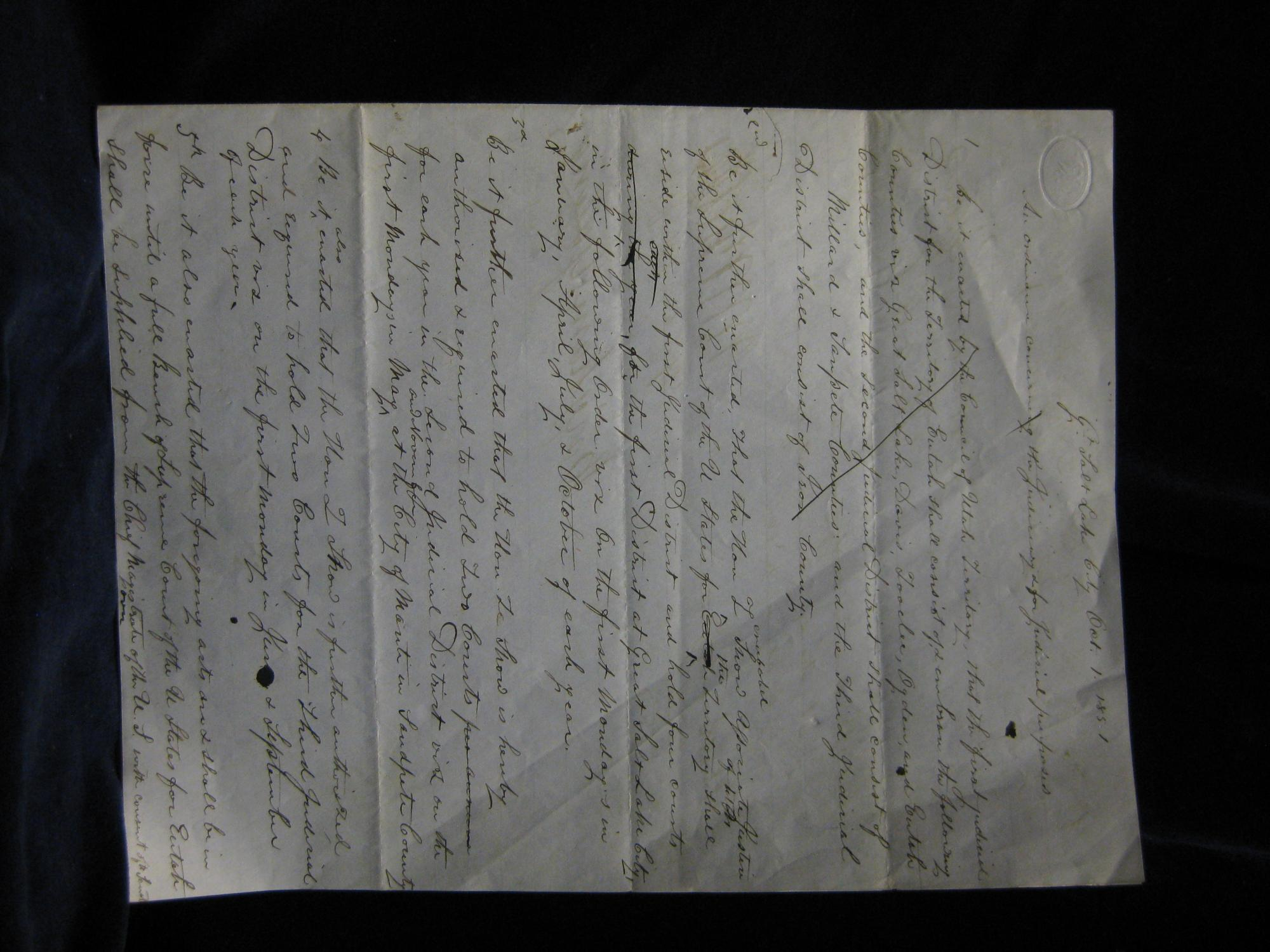 Manuscript Draft of the first passage, pertinent to Utah, within the first territorial law book, ...