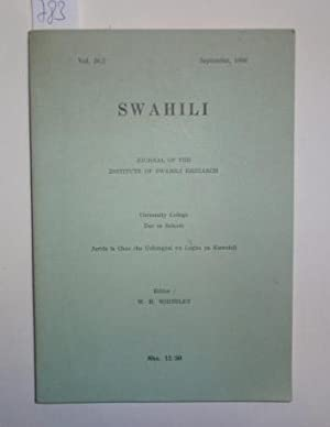 Swahili. Journal of the Institute of Swahili Research. Vol. 36 / 2, September 1966.