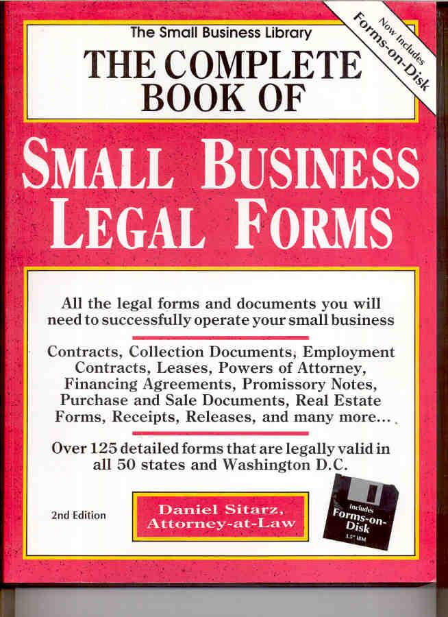 The Complete Book Of Small Business Legal Forms The Small Business - Legal documents for small business