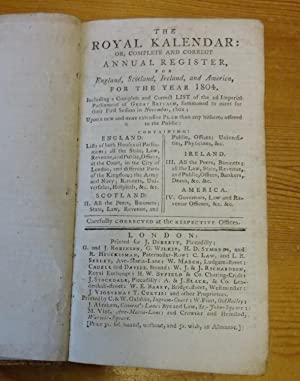 The royal kalendar: or, Complete and correct annual register, for England, Scotland, Ireland, and...