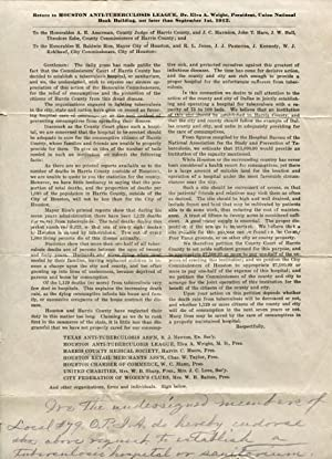 1912 Petition from the Houston Anti-Tuberculosis League, Dr. Elva A. Wright, President, for the R...