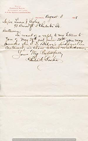 [Ephemera] [Legal] Handwritten, Signed Letter from Baltimore Attorney Charles A. Boston to Simons...