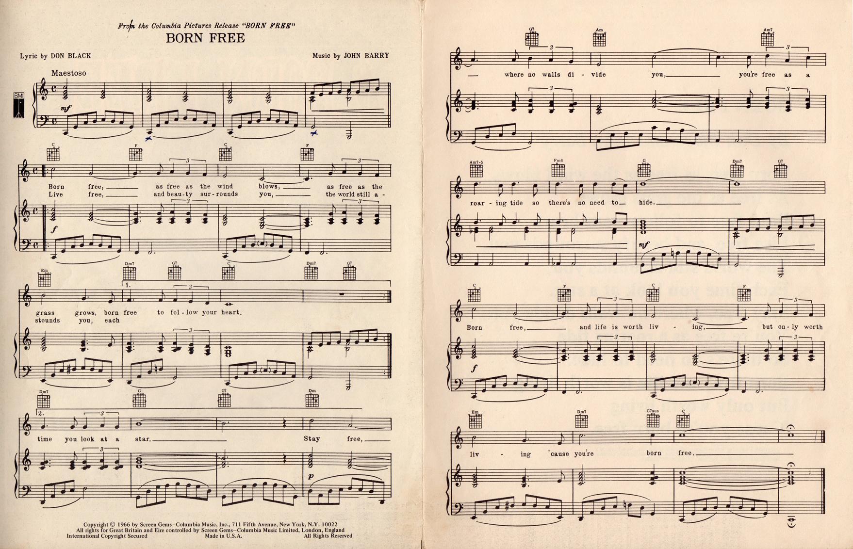 Born Free, Vintage 1966 Sheet Music (Charles