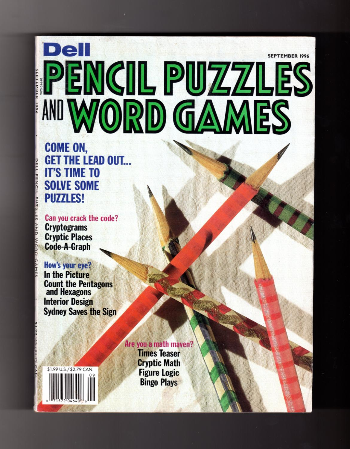 Dell Pencil Puzzles And Word Games September 1996 Number 181 By