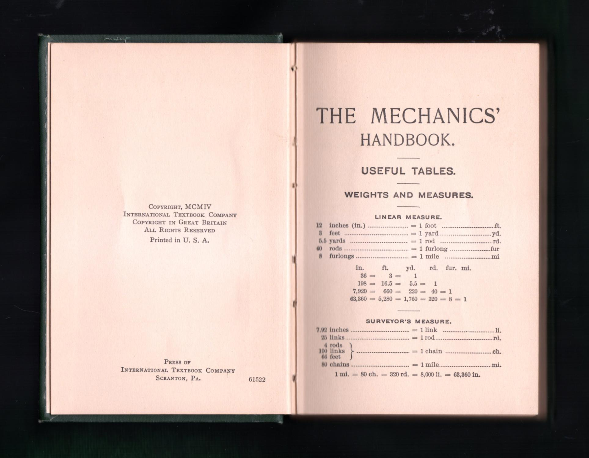 The Mechanics' Handbook - A Convenient