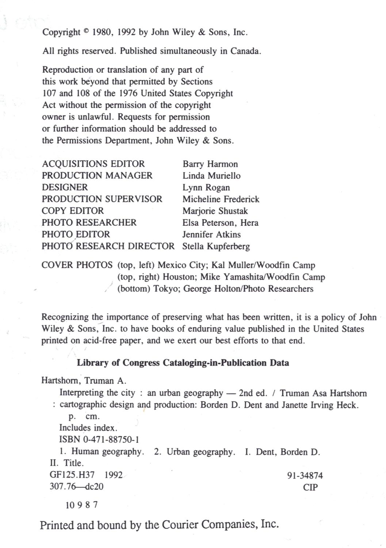 ... Interpreting the City: an Urban Geography: Hartshorn, Truman A.