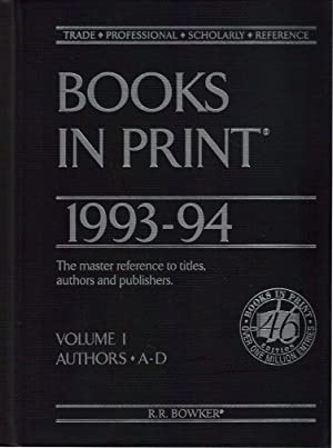 Books In Print 1993-94 / Volume 1 / Authors A-D: not listed