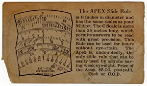 Apex Slide Rule Ad Card (ephemera): uncredited