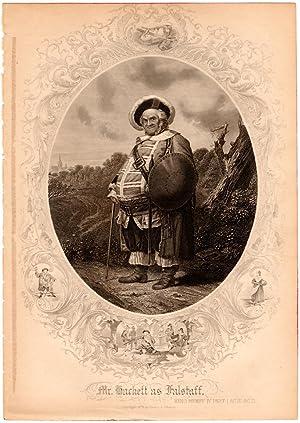 """1879 Shakespearean Steel Engraving, """"Mr. Hackett as: Henry J. Johnson"""
