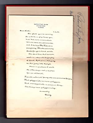 Bacheller, Irving ALS / Autograph Letter Signed, to Richard Lloyd Jones / tipped in to copy of D'...