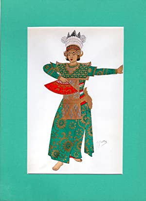 Emile Gallois: 31 Matted Japanese & Indonesian costume prints from 'Costumes Japonais et ...