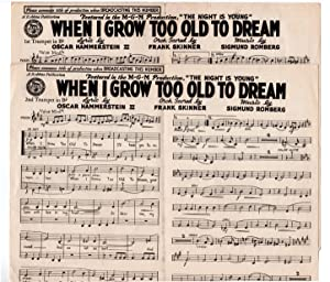 When I Grow Too Old to Dream- Vintage 1935 Sheet Music. Oscar Hammerstein, Sigmund Romberg and Fr...
