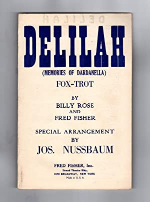Delilah (Memories of Dardanella). Vintage 1926 Tin Pan Alley Sheet Music, Fox-Trot, Piano. Billy ...