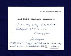 Jacques Raphael Roques (World War I French Fighter Ace): Visiting Card, Signed, Circa 1966