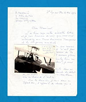 Pierre Pendaries, French Fighter World War I Ace, Nieuport & Spad. ALS (Autograph Letter Signed) ...
