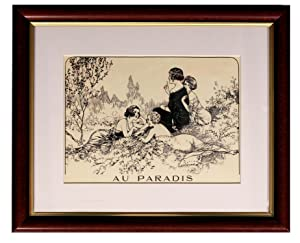 Au Paradis. Matted and Framed Print of: uncredited (prob. Chéri