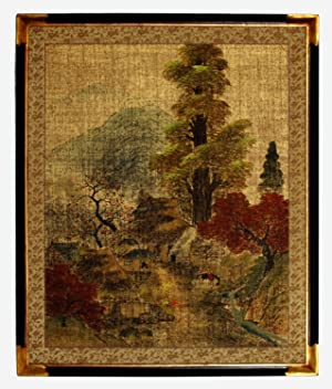 Peaceful Village, Vintage Japanese Painted Paper Panel, Mid-Twentieth Century. Large, with Vintag...