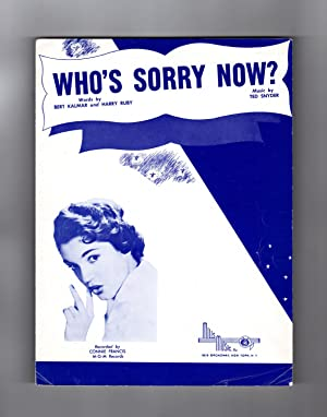Who's Sorry Now ? Vintage Sheet Music, circa 1957. Connie Francis Cover. Mills Music, Inc., publi...