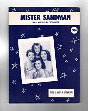 Mister Sandman (Mr. Sandman) - Vintage 1954 Sheet Music. The Chordettes Cover. Pat Ballard Words ...