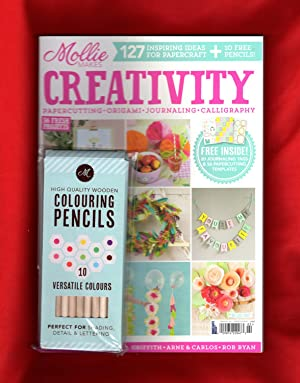 Mollie Makes Creativity (2017) (with Cover-Mounted Box of 10 Wooden Colored Pencils). Papercuttin...
