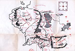 Map of Middle Earth. Lord of the Rings Ephemera, Circa 1985. Hobbiton, Mordor, The Shire, etc.